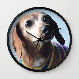 Molly Dolly Dachshund - Blue Wall Clock