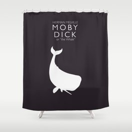 Moby Dick, Herman Melville, minimal book cover, classic novel, the whale, sea adventures Shower Curtain