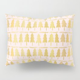 Luxe Rose Gold Christmas Tree Pattern, Seamless Vector Background Pillow Sham