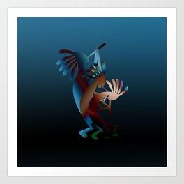 Kokopelli Flute Blue Art Print
