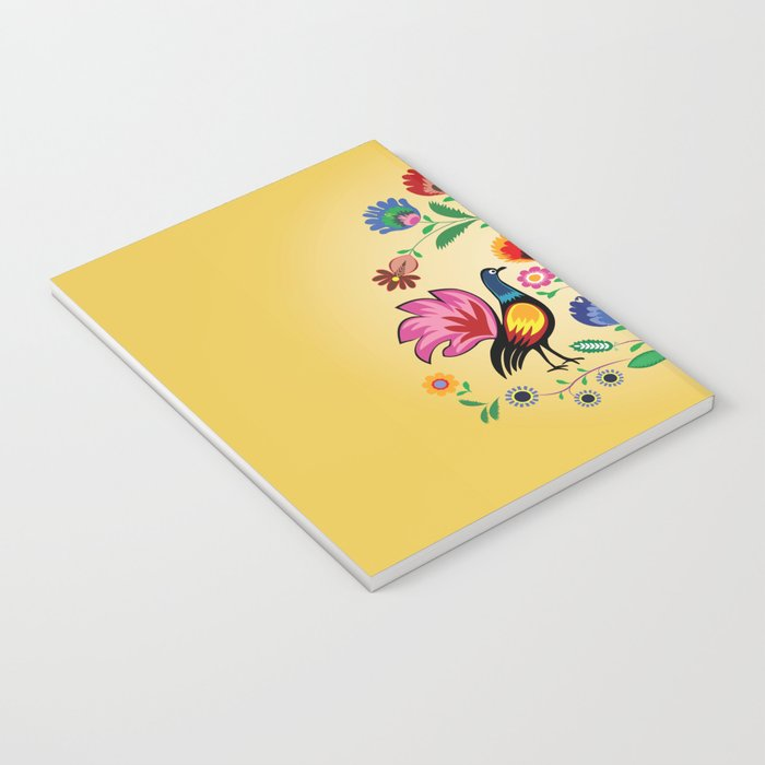 Polish Folk With Decorative Floral & Cockerels Notebook