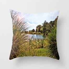 Nature - Sunset Lagoon Throw Pillow