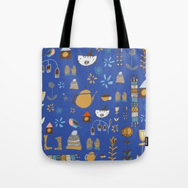 hygge cat and bird blue Tote Bag
