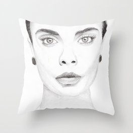 Cara Delevingne Portrait Throw Pillow