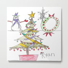 Festive Christmas Scene Metal Print