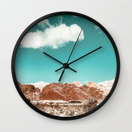 Vintage Red Rocks // Snow in the Mojave Desert Clouds Teal Sky Mountain Range Landscape Wall Clock