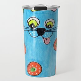 Blue Fat cat Travel Mug