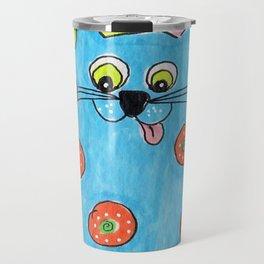 Blue Fat cat Travel Mug