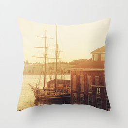 Tall Ship on Waterfront Throw Pillow