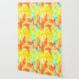 Yellow Orange and Green Colorful Abstract Geometric Marble Pattern Wallpaper