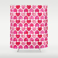ruby Shower Curtains featuring RUBY HEARTS by Daisy Beatrice