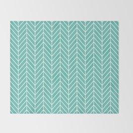 Turquoise Herringbone Pattern Throw Blanket