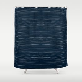Meteor Stripes - Dark Denim Shower Curtain