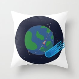 Earth Meteor Space Print Throw Pillow