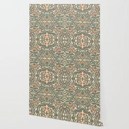Green Vines Folk Art Flowers Pattern Wallpaper