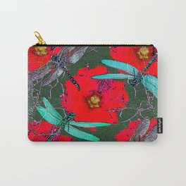 ANTIQUE CRACKLED  BLUE DRAGONFLIES ON RED HOLLYHOCK FLOWERS Carry-All Pouch