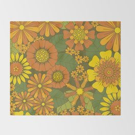 Orange, Brown, Yellow and Green Retro Daisy Pattern Throw Blanket