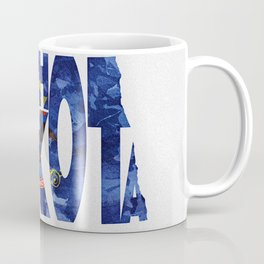 North Dakota Typographic Flag Map Art Coffee Mug