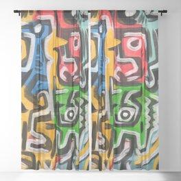 Primitive street art abstract Sheer Curtain