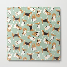beagle scatter mint Metal Print