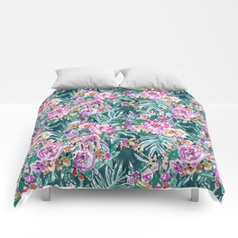 TROPICAL FEELS Begonia Palm Watercolor Pattern Comforters