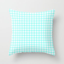 Aquamarine Houndstooth Throw Pillow