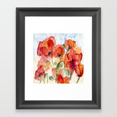 Tangerine Orange Poppy field WaterColor by CheyAnne Sexton Framed Art Print