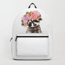 Baby Raccoon with Flowers Crown Backpack
