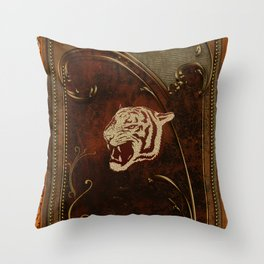Wonderful  tiger head, golden colors Throw Pillow