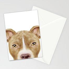 Pit Bull light Brown 2,Dog illustration original painting print Stationery Cards