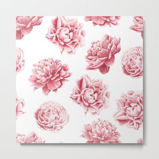 Pink Rose Garden on White Metal Print