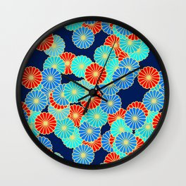 Art Deco Stylized Flower Pattern Blue, Turquoise and Red Wall Clock