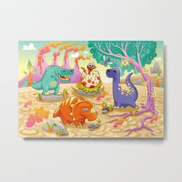 Group of funny dinosaurs in a prehistoric landscape. Metal Print