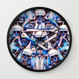 Magick Skull Star Watercolor Wall Clock