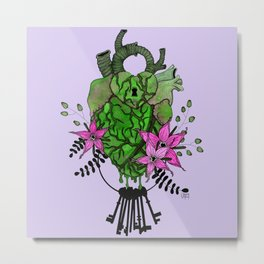 Key To My Heart - Green Metal Print