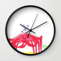 cuddle Wall Clocks featuring Wanna Cuddle? by Ryan van Gogh