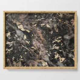 Gold Vein Black Marble Design Serving Tray