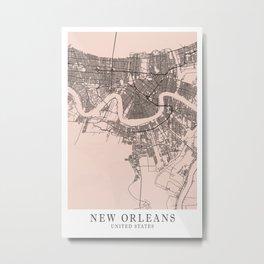 New Orleans - Us Mind City Map F4D8CD Metal Print