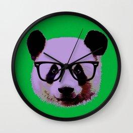 Panda with Nerd Glasses in Green Wall Clock