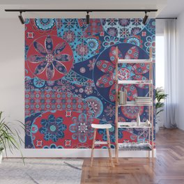 Dhalia Red and Blue Wall Mural