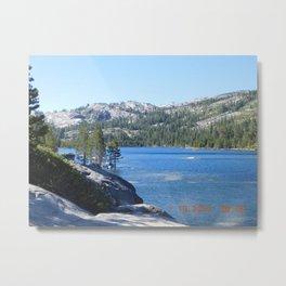 road trip, lake, water, mountains, trees, tree in lake, rocks  Metal Print