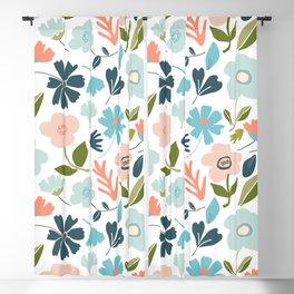 Modern Floral Botanical on White Blackout Curtain