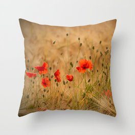 Golden cornfield with poppies Throw Pillow