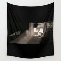 the office Wall Tapestries featuring Quill's Office by Andrew Formosa