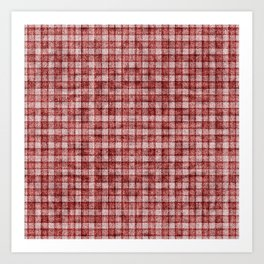 Rusty Red Gingham Faux Terry Toweling Art Print