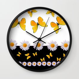FRESH WHITE DAISIES & SPRING BUTTERFLIES & BLACK ART Wall Clock