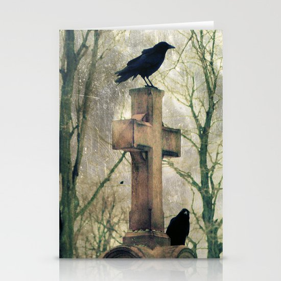 Two Graveyard Crows Stationery Cards