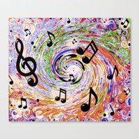 music notes Canvas Prints featuring Music Notes by gretzky