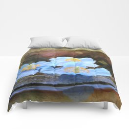 Blue poppies Comforters