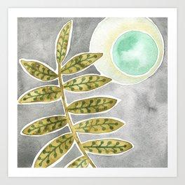 Mint Moon and Leaves Art Print